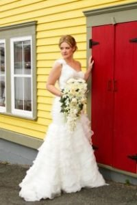 bride by red door